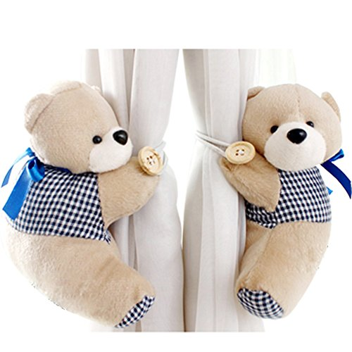 PYD 2PCS Cute Bears Curtain Tieback Buckle Hook Fastener Baby Kids Room Window Screens Decoration (Deep Blue) Bear Curtain Tie Backs