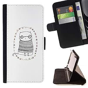 For Apple (5.5 inches!!!) iPhone 6+ Plus / 6S+ Plus Case , Gato Gafas minimalista Dibujo Gafas lindas- la tarjeta de Crédito Slots PU Funda de cuero Monedero caso cubierta de piel