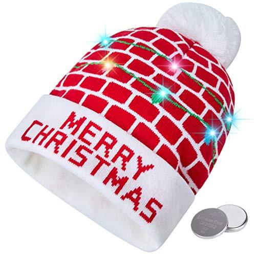 RAISEVERN Unisex Ugly LED Merry Christmas Hat Novelty Colorf