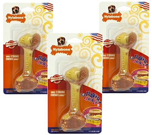 (3 Pack) Nylabone Flavor Frenzy Dura Chew Bacon, Egg and Cheese Flavored Bone Dog Chew Toys - Size Wolf