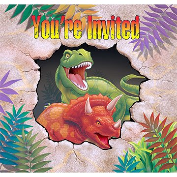 Creative Converting Dino Blast 8 Count Enhanced Party Invitations