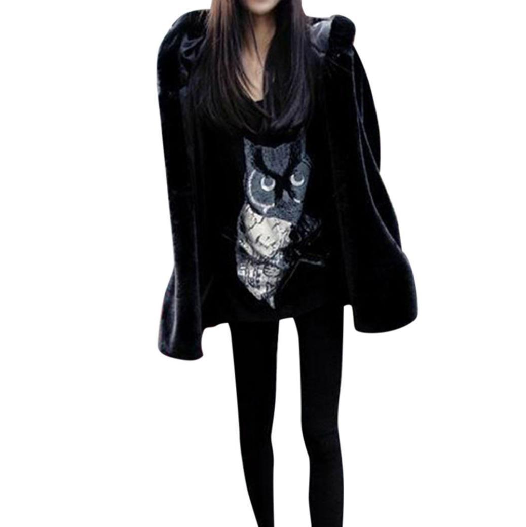 Faux Fur Coat,Ladies Womens Warm Faux Fur Coat Jacket Winter Parka Outerwear (Black, S)