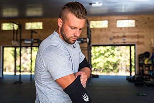 Bear KompleX Elbow Sleeves (SOLD AS A PAIR of 2) for weightlifting, powerlifting, wrestling, strongman, bench press, cross fitness, and more. Compression sleeves come in 5mm thickness Elbow BLK XXL by Bear KompleX (Image #4)