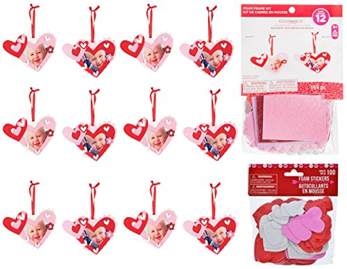 Valentine's Day Activity Foam Craft Ornament Kit - Heart Frame With Bonus Heart Stickers (Kit for 12 Kids) 269 Piece Total