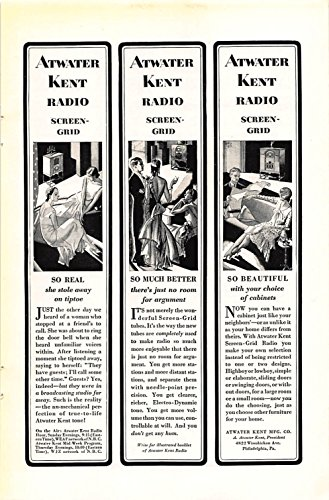 Print Ad 1929 Atwater Kent Mfg. Radio Screen Grid