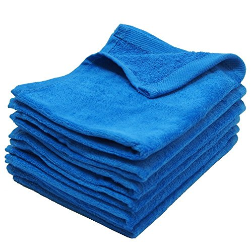 Fingertip Towels Premium 100% Cotton Terry-Velour Wash cloth Set of 4, 11'' x 18'' ( Blue ) by IZO All Supply