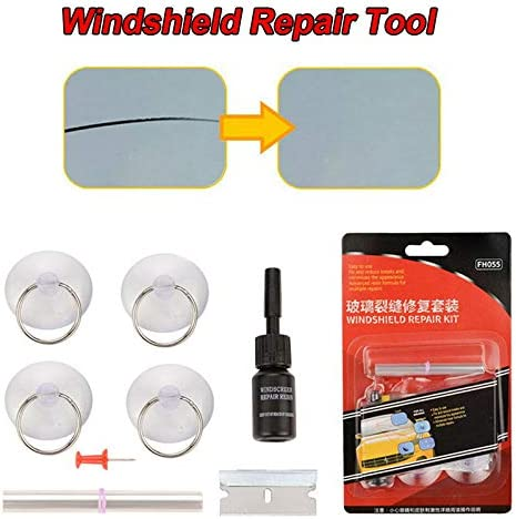 Godob Windshield Kits Cracked Glass Repair Kit DIY Cars Window Tools for Fracture Long Crack Glass Scratch
