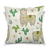 LAVOVO Llama Animal Cacti and Floral Watercolor Style Decorative Throw Pillowcase Cushion Pillow Cover 20'' x 20'' for Couch, Bed, Sofa or Patio - Only Case, Double Sides, No Insert