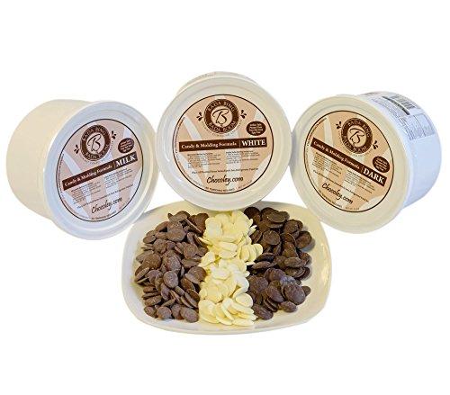 Chocoley Molding Chocolate 2.5 lb ASSORTMENT - 3 Flavors - Bada Bing Bada Boom Candy and Molding Formula - 2.5 lbs of Each Flavor: Dark, Milk and White