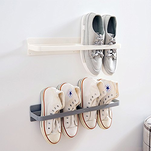Esdella Shoes Rack Organizer Mounted Wall Storage Shelf Shoe Holder Keeps Any Shoes Off the Floor (Simple-Set of 2) by Esdella