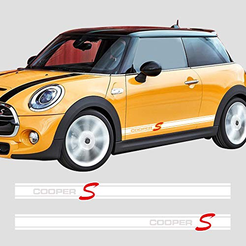 Charminghorse 2Pieces Side Skirt Coopers Graphics Racing Stripes Decal Stickers for Mini Cooper S R56 R57 R58 R50 R52 R53 R59 F55 F56 (Gloss White)