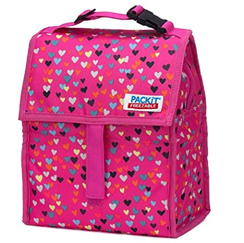 PackIt Freezable Lunch Bag with Zip Closure, Hearts - Pink Kids Bag