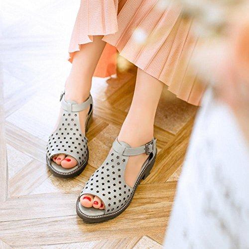Charm Foot Womens Fashion Heeled Peep Toe Low Heel Buckle Sandals Gray c0X6g0v