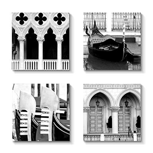 Grander Group Urban Architectural Art Vintage Picture - Love Paris Artwork Print on Canvas for Decor