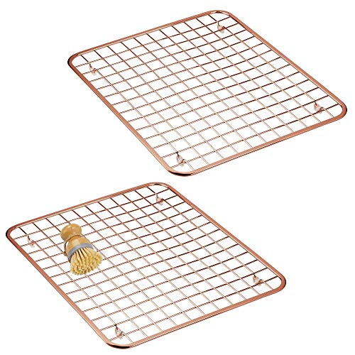 mDesign Modern Metal Wire Kitchen Sink Metal Dish Drying Rack/Mat – Steel Wire Grid Design – Allows Wine Glasses, Mugs, Bowls and Dishes to Drain in Sink – 2 Pack – Copper