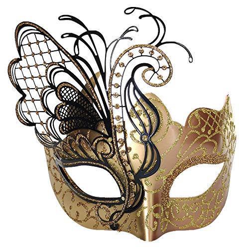 CCUFO Masquerade Venetian Luxury Face Mask for Women Metal Sparkling Butterfly | Party, Ballroom, Fancy Prom, Mardi Gras, Wedding, Wall Decoration (Rose Gold -