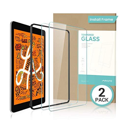 [2 Pack] for iPad Mini 4/Mini 5 (2019) Screen Protector, AINOPE [Easy Install Frame] Tempered Glass for iPad Mini-Apple Pencil Compatible/Anti Fingerprint/Scratch-Resistant/9H Hardness (Mini Apple Ipad Screen Protector)
