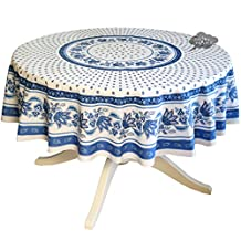 """68"""" Round Lisa White Cotton Coated Provence Tablecloth by Le Cluny"""