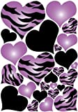 zebra decal - Purple Radial Hearts, Black Hearts, and Zebra Print Heart Wall Decals on a 18in By 25in Sheet