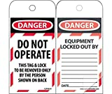 LOTAG10SL150 Polytag National Marker Self Laminating Tags, Lockout, Danger Do Not Operate this Tag Lock, 6 Inches x 3 Inches, Polytag, Box of 150
