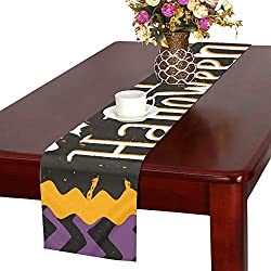 WUTMVING Cute Halloween Invitation Greeting Card Template Table Runner, Kitchen Dining Table Runner 16 X 72 Inch for Dinner Parties, Events, Decor