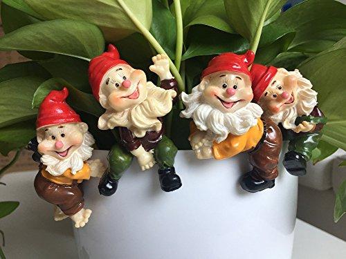 MUAMAX Zakka Cute Cap Dwarf Pot Side Ornaments Gnome Gardening Groceries Mossy Fleshy Micro-landscape Elf (4 Piece) Perfect Fairy Garden Accessory