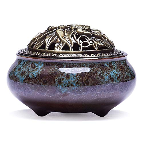 Antique Incense Burners - Mayco Bell Ceramic Incense Burner Copper Cover Buddha with Antique Alloy line Incense Sandalwood agarwood Incense ice Cracking kiln