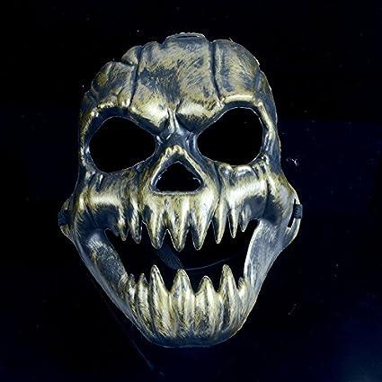 Máscara de Halloween Hombres Disfraces de purga de calavera de látex oro – fiesta máscaras para