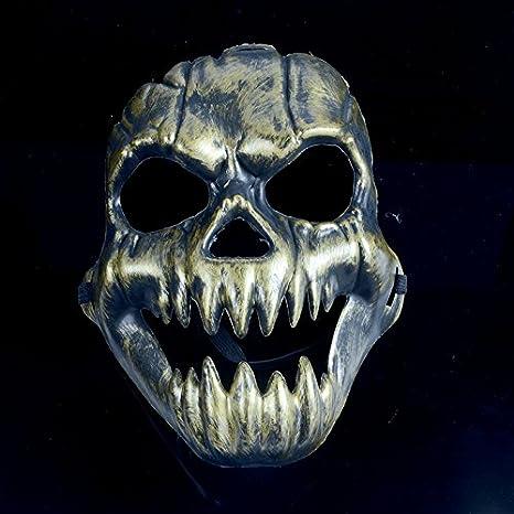 Máscara de Halloween Hombres Disfraces de purga de calavera de látex oro - fiesta máscaras para niños niñas: Amazon.es: Hogar