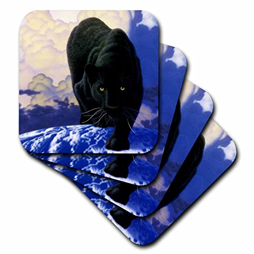 Wild animals - Black Panther - set of 8 Coasters - Soft (cst_739_2) by 3dRose