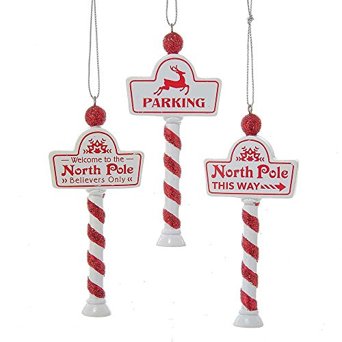 (Kurt Adler 4-Inch Set of 3 North Pole Sign Ornament Set, 3 Piece)