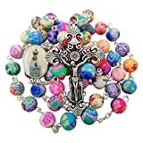 Talisman4U CATHOLIC ROSARY NECKLACE Colorful Polymer Beads Our Lady of Fatima Jesus Cross Holy Land Gift
