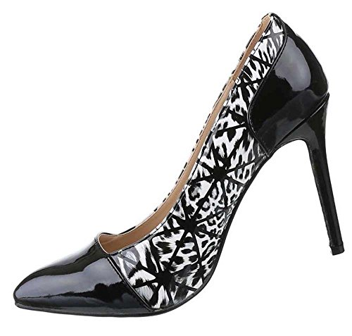 Frauen High Heels mit 10,5 cm Stiletto-Absatz in Schwarz-Weiß und Größe 36 Klassische Abendschuhe in Lacklederoptik