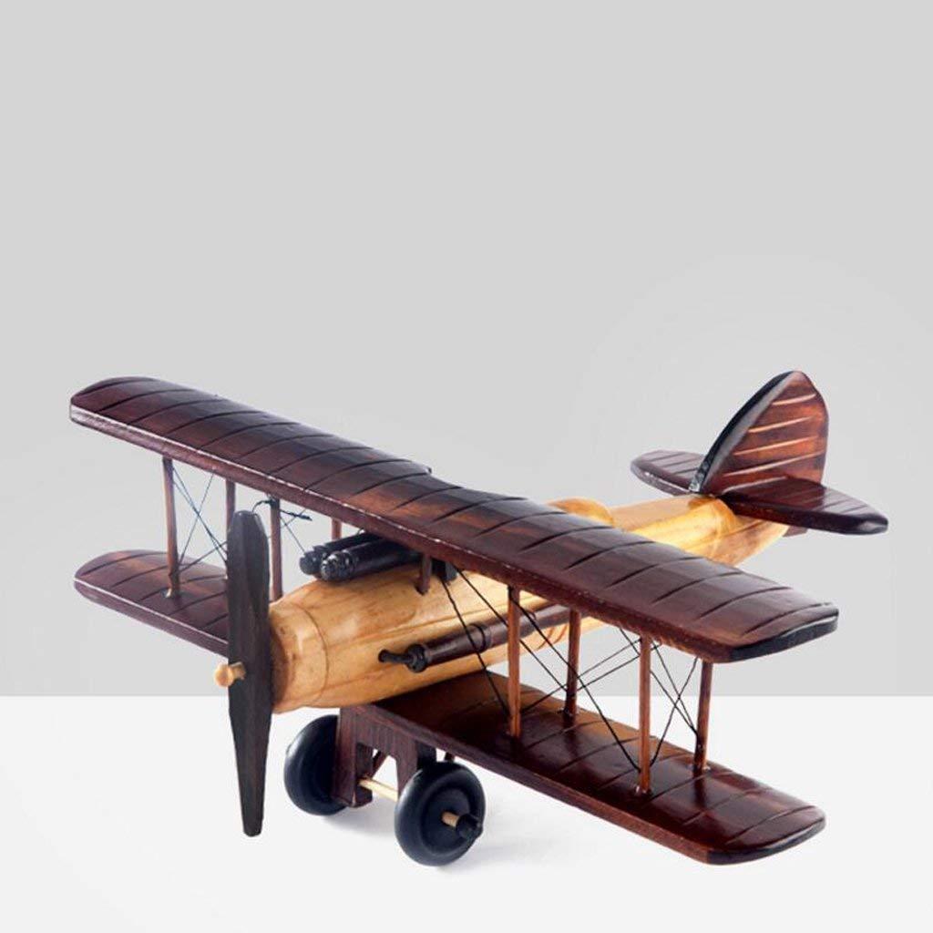 MVW Kunstwerk kreativ Vintage Holz- Flugzeug Modell Coffee Shop Büro Wohnzimmer basteln Dekoration Geschenk, 35 * 31 * 12 cm Rollsnownow