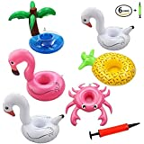 Drink Pool Floats Cup Holder Floats Inflatable Floating Coasters for Pool Party and Kids Bath Toys Inflatable Drink Holder, 6 Pack (Multicolor)