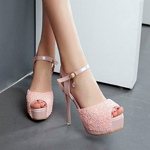 Heel Buckle Fine Waterproof Women Heels Heel Superhigh AGECC Sequill Pink Sandals Platform High zqw8nUd
