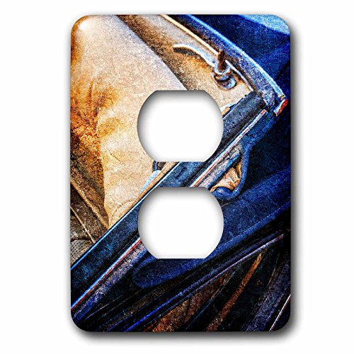 3dRose Alexis Photography - Transport Road - Cabriolet rear seat and a hood. Vintage luxury. Textured photo - Light Switch Covers - 2 plug outlet cover (lsp_271949_6) by 3dRose