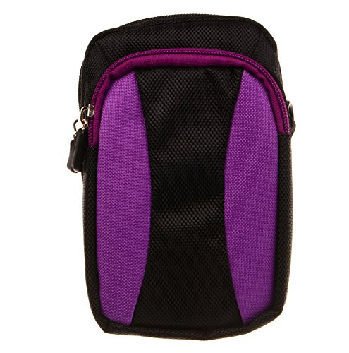 Big Dragonfly(TM) Multi Purplose Sport Mobile Phone Pouch with Carabiner, Belt Loop and Removable Shoulder Strap Black with Purple