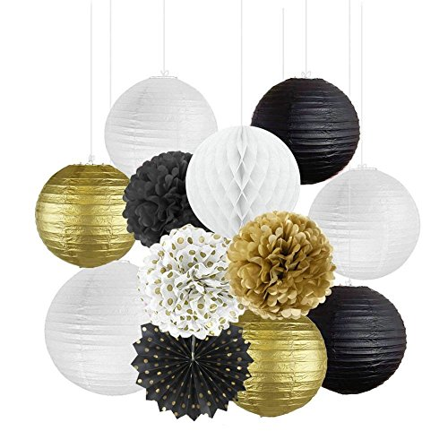 Happy NewYear Party Decorations Black White Gold Tissue Paper Pom Pom Chinese Paper Lanterns Hanging Paper Fans for Great Decorations/ New Year's Eve Party /Birthday Decorations/Bridal Shower -