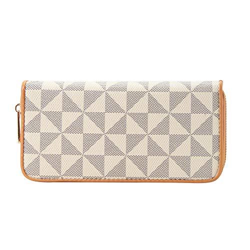 Women's Checkered Zip Around Wallet and Phone Clutch - RFID Blocking with Card Holder Organizer -PU Vegan Leather (TP)
