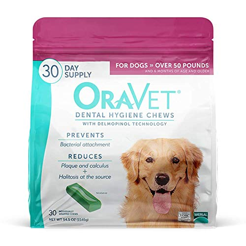 ORAVET Dental Hygiene Chews for Large Dogs (50+ pounds), 30-Count Pack