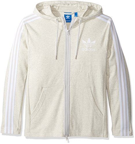 adidas Originals Men's Outerwear Curated Full Zip Jacket, White Vapour Melange, Large (Adidas Originals Zip Up Hoodie With Small Logo)