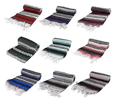 Assorted Colors Authentic 6 x 5 Mexican Siesta Blanket