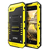 iphone 6 plus bullet proof - Phone Case Compatible with iPhone 6 Plus 6s Plus, Metal Case Heavy Duty with Screen Full Body Protective Waterproof, Impact Shockproof Dust Proof Tough Rugged Hard Cover Military Defender, Yellow