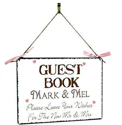 Amazon.com: Libro de invitados para boda personalizable Sing ...