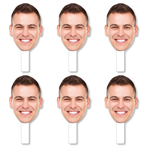 Big Dot of Happiness Fun Face Cutout Paddles - Custom Photo Head Cut Out Photo Booth and Fan Props - Upload 1 Photo - 6 Piece Cut Out -