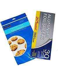 Acquisition 30 Precut Foil Sheets and 10 Baking Parchment Paper Sheets saleoff