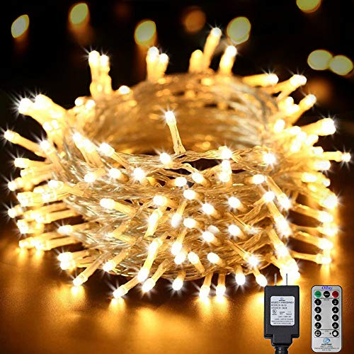 Ollny Outdoor String Lights 66ft 200 LEDs Warm White Christmas Fairy String Lights 8 Modes with Remote and Timer Plug in use for Indoor Bedroom Wedding Party Patio Christmas Lights CONNECTABLE (White Christmas Tree Lights With White Cord)