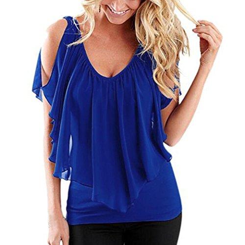 (AOJIAN T Shirts Blouses Tops Women Off Shoulder Irregular 2018 Fashion Blue)