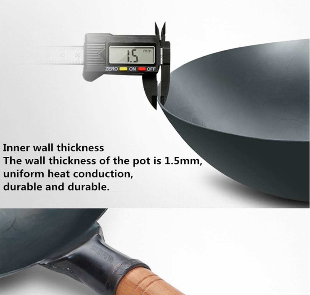 12 Zoll Runden Unterseite Wok Chinesischer handgemachter Eisentopf 30 cm Wok COTOM Authentischer von Hand geh/ämmerter Wok
